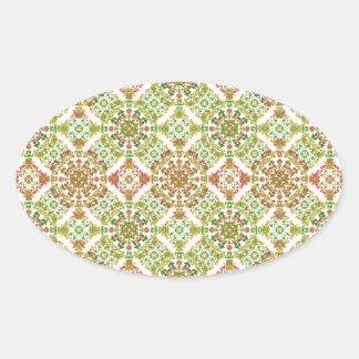 Adesivo Oval Boho floral estilizado colorido