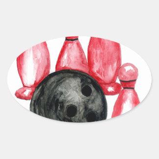Adesivo Oval Bola de boliche Sketch2