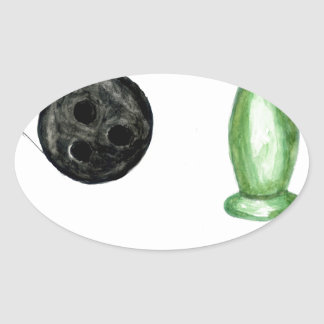 Adesivo Oval Bola de boliche Sketch3