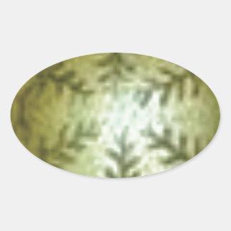 Adesivo Oval bola de creme com samambaias