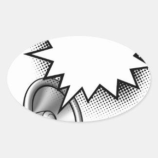 Adesivo Oval Bolha do discurso da banda desenhada do megafone