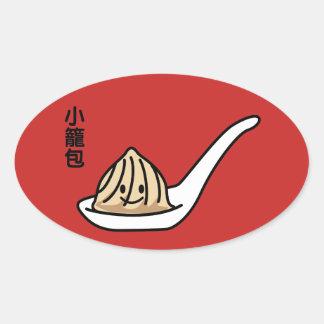 Adesivo Oval Bolo chinês de Dim Sum da bolinha de massa da sopa