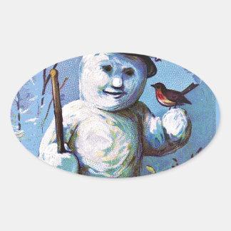 Adesivo Oval Boneco de neve -