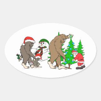 Adesivo Oval Boneco de neve do papai noel de Bigfoot