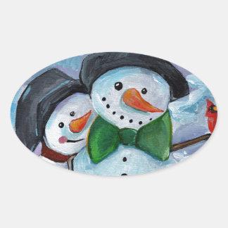 Adesivo Oval Bonecos de neve de visita cardinais