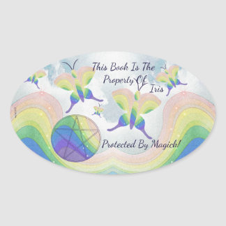 Adesivo Oval Bookplate do Pentacle da borboleta do arco-íris