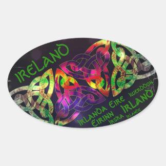 Adesivo Oval Bordador, Irlanda, nó celta, de cores