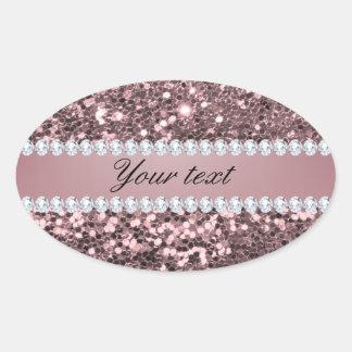 Adesivo Oval Brilho cor-de-rosa na moda e diamantes do falso do