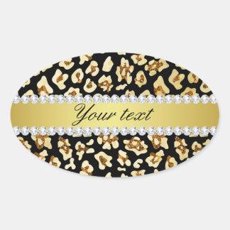 Adesivo Oval Brilho do ouro do falso do leopardo e preto da