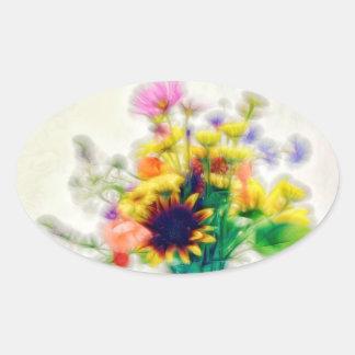 Adesivo Oval Buquê do Wildflower do verão