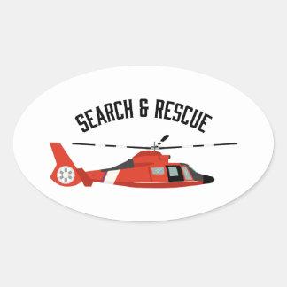 Adesivo Oval Busca & helicóptero do salvamento