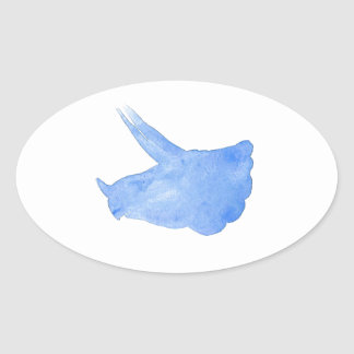 Adesivo Oval Cabeça azul do Triceratops