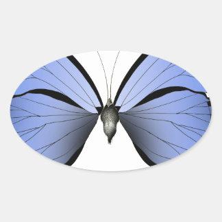 Adesivo Oval Caçador azul do Azure da borboleta 2