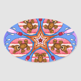 Adesivo Oval Caleidoscópio dos ursos e das abelhas