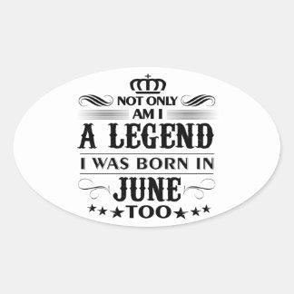 Adesivo Oval Camiseta das legendas do mês de junho