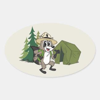 Adesivo Oval Campout americano do rick | da guarda florestal