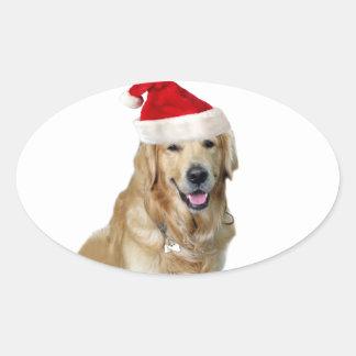 Adesivo Oval Cão-animal de estimação do cão-papai noel de claus
