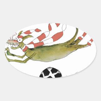 Adesivo Oval cão do futebol dos vermelhos