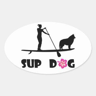 Adesivo Oval Cão do SUP