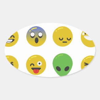 Adesivo Oval Cara feliz de Emoji
