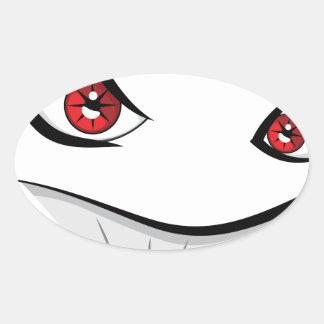 Adesivo Oval Cara má com olhos vermelhos