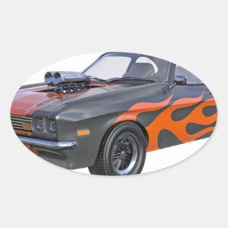 Adesivo Oval carro do músculo dos anos 70 com chama alaranjada
