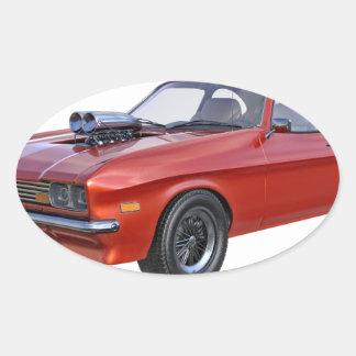 Adesivo Oval carro vermelho do músculo dos anos 70