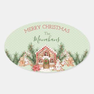 Adesivo Oval Casa de pão-de-espécie do Natal do país
