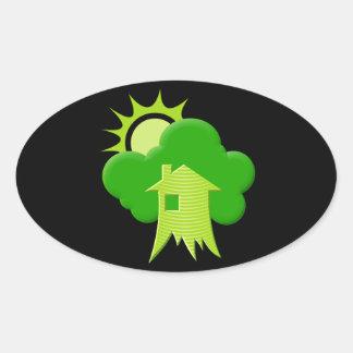 Adesivo Oval Casa verde