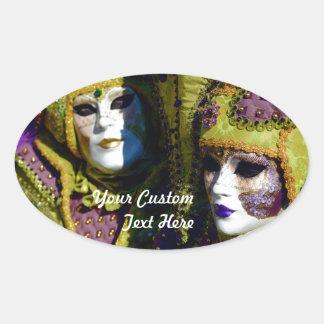 Adesivo Oval Casal Venetian colorido com máscaras do carnaval