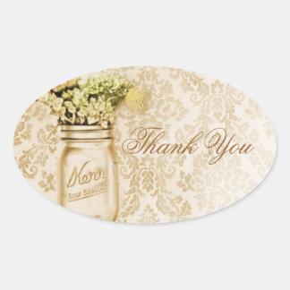 Adesivo Oval Casamento floral do frasco de pedreiro do damasco
