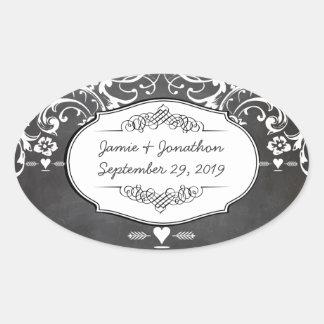 Adesivo Oval Casamentos da tipografia do quadro