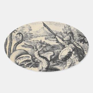 Adesivo Oval Cavaleiro na armadura que massacra o dragão