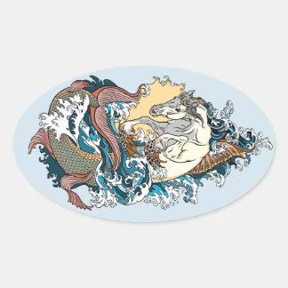 Adesivo Oval cavalo marinho mitológico