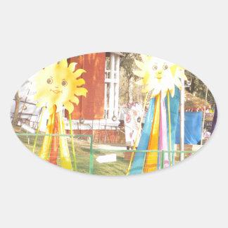 Adesivo Oval celebrati dos festivais das decorações da luz do