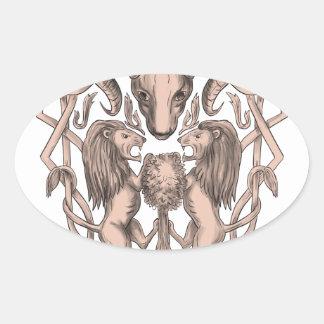 Adesivo Oval Céltico Knotwo da brasão da árvore do leão dos