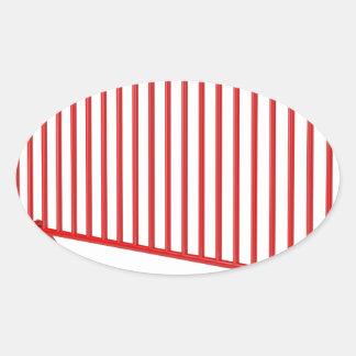 Adesivo Oval Cerca móvel vermelha