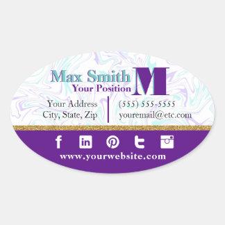 Adesivo Oval Cerceta marmoreada & customizável roxo