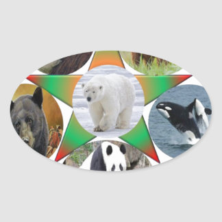 Adesivo Oval cerveja, urso, animais selvagens, animal, zool