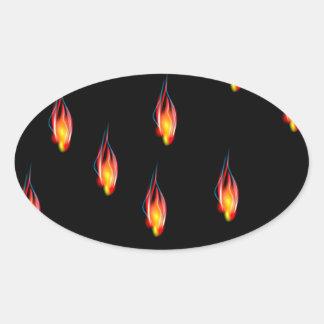 Adesivo Oval Chamas do fogo