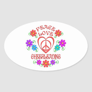 Adesivo Oval Cheerleading do amor da paz