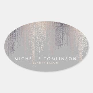 Adesivo Oval Cinzas Luxe do teste padrão da chuva dos confetes