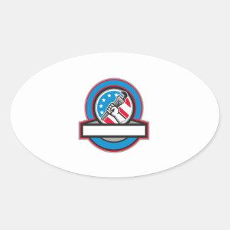 Adesivo Oval Círculo da bandeira dos EUA da chave de tubulação