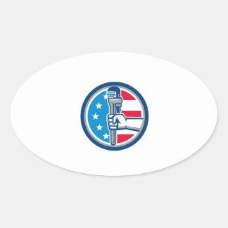 Adesivo Oval Círculo ereto R da bandeira dos EUA da chave de
