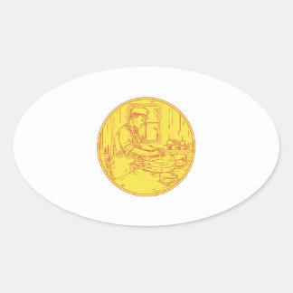 Adesivo Oval Círculo tradicional Drawin do queijo do queijeiro