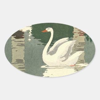 Adesivo Oval Cisne branca refletida no lago