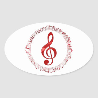 Adesivo Oval Clef de triplo vermelho em notas da música