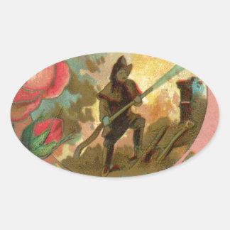 Adesivo Oval Cobrir do sapador-bombeiro do bombeiro dos 1880's