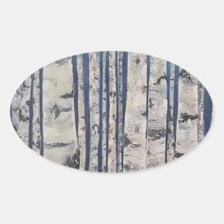 Adesivo Oval Código Morse das árvores de vidoeiro
