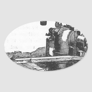 Adesivo Oval Coisas efêmeras antigas do vintage da ferramenta